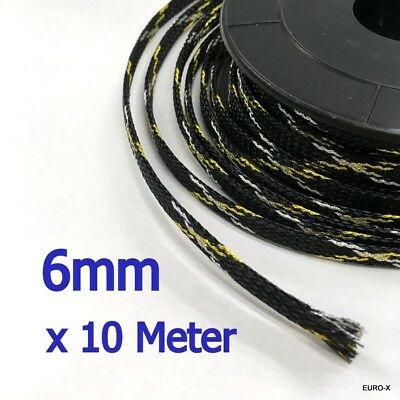 6mm Expandable Braided Cable Sleeving Wire Wrap x 10 Meter / Lot #Agtc