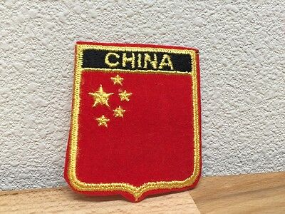 Vtg China Chinese Flag Country Travel Biker Patch Iron On