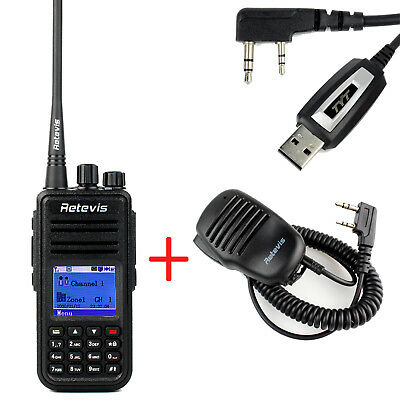 Digital Funkgeräte Retevis RT3 UHF 1000CH 2000mAh DMR Radio+Mini Speaker Mic DE
