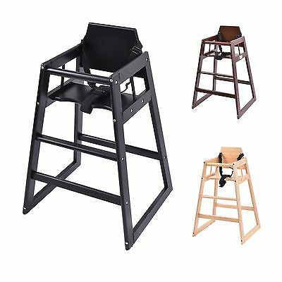 Stackable Baby High Chair Toddler Highchair Wooden Feeding Seat Home Restaurants