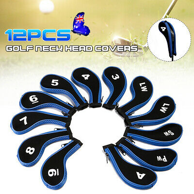 12pcs/Set Andux Number Golf Club Iron Head Covers Zipper Long Neck Blue&Black