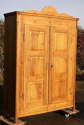 LATE 19th CENTURY LARGE ANTIQUE DUTCH SOLID PINE ARMOIRE  WARDROBE