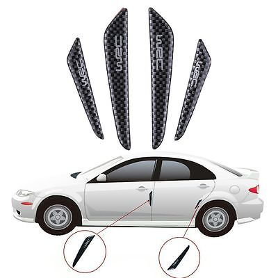 4Pcs Black Glossy Carbon Fiber Car Side Door Edge Protector Guards Trims Sticker