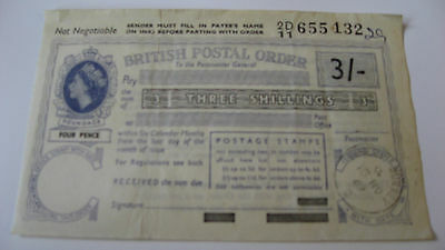 Vintage British Postal Order 15 Nov 1969 Three Shillings Issued in Purley Surrey