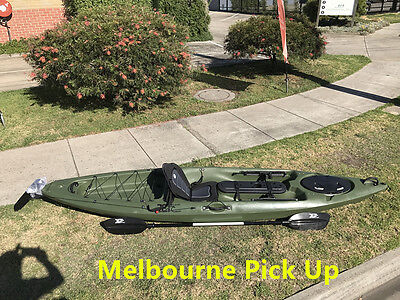 Jetocean 3.6M 12ft Single Sit-On Fishing Kayak with Paddle and Seat Brown Green