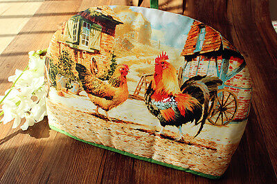 New Rustic Cottage Roosters Pattern Teapot Tea Cosy Cozy