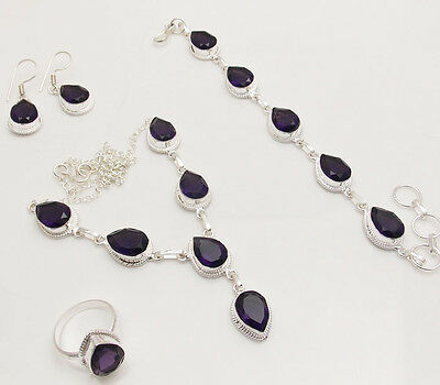 """Facated Amethyst Stone - 925 Silver Jewelry Set 18"""",7-9"""",7.5 Us,0.50"""""""