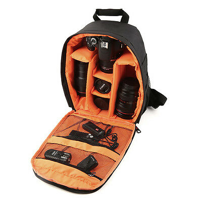 Camera Lens Backpack Waterproof DSLR Bag Case for Canon Nikon Sony Orange NR