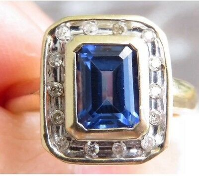 Huge Genuine 2.14ct Diamond & Sapphire Ring 9K Solid Yellow Gold