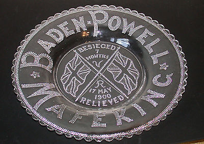 Baden Powell Mafeking 1900 Beseiged Relieved Flint Glass Commemorative Plate
