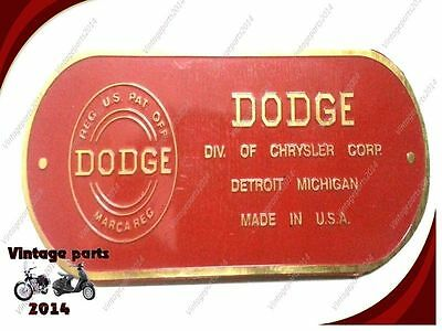 Best Quality New Data Plate Acid Etched Brass Dodge Firewall 1940s - 1950s