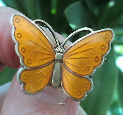 Norwegian Silver & Yellow Enamel Butterfly Brooch - Albert Scharning Norway