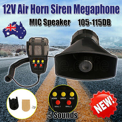 12V Air Horn Siren Megaphone Loud & MIC Speaker 5 Sounds Auto Car Vehicle Truck