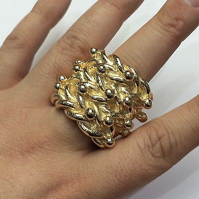 """MASSIVE MENS 80g TOP QUALITY 9CT GOLD ON JEWELLERS BRONZE KEEPER RING """"SIZE Z+2"""