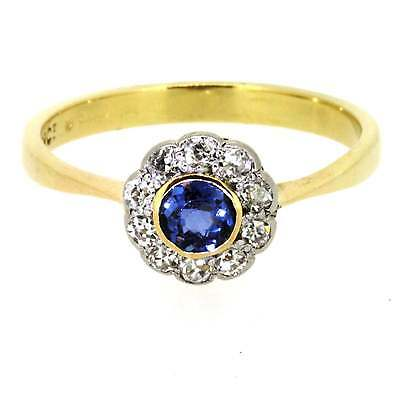 Ladies Hallmarked 18ct Yellow Gold & Platinum Sapphire and Diamond Cluster Ring