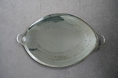 "Vintage 27"" Silver Plate Oval Serving Tray with Handles and Feet"