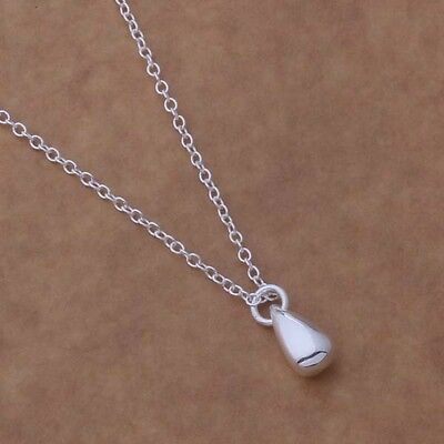 NEW 925 Sterling Silver Water Drop Shiny Pendant Necklace Chain Jewelry Fashion