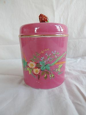 Rare Copeland late 19th C pink strawberry lidded jar
