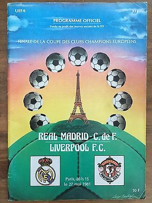 1981 European Cup Final Programme Liverpool V Real Madrid