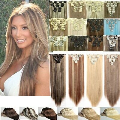 Natural As Human Hair Clip in On Full Head Hair Extensions 18 Clips Synthetic
