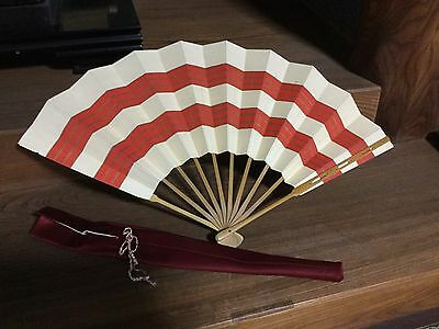 Japanese large OUGI SENSU for BUYO, off-white & Red lines Design - 55 x 34cm
