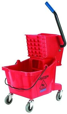 Red Mop Service Basin Bucket Wringer Combo Cleaning Storage Wheel Caster 26 Qt.