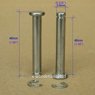 Luggage Wheel Replacement 6mm Axles Overall Length 48mm (Set of 2) w/e-ring clip