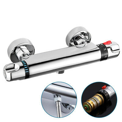 Modern Thermostatic Exposed Bar Shower Mixer Valve Round Chrome Bottom Outlet