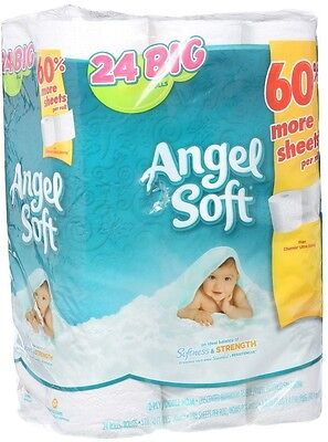 Angel Soft Bathroom Tissue Toilet Paper Large Roll Soft White 2-Ply 24-Count