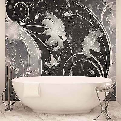 WALL MURAL PHOTO WALLPAPER XXL Floral Abstract Silver Grey Black (2343WS)
