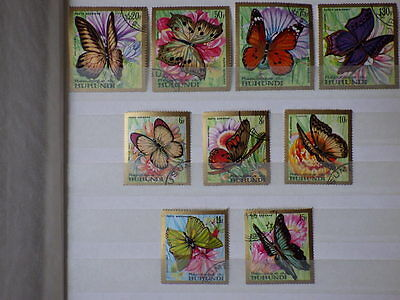 9 x TIMBRES BURUNDI Butterflies 1968 Poste Aerienne Yt PA 82/90 Mi 427/435 Used