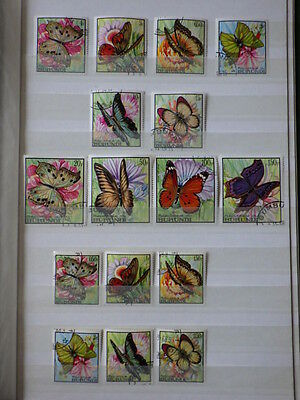 16 x TIMBRES BURUNDI Butterflies 1968 Yt 270/285  Mi 411/426 Used