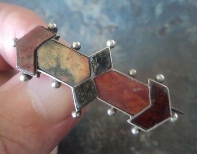 Super Antique Scottish Victorian Silver Mixed Agate Brooch c.1890