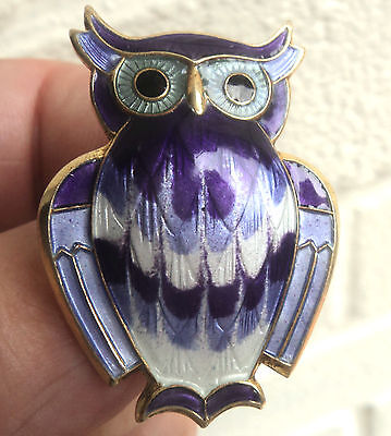 Super Norwegian Sterling Silver & Enamel Owl Brooch - David Andersen Norway