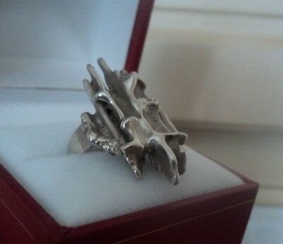 UNUSUAL Sterling Silver Modernist Abstract Ring h/m 1971 Birmingham   size I / J