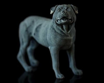 Rottweiler Marble Statuette Animal Miniature Collectible Realistic Dog Figurine