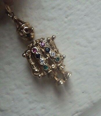 Vintage  9ct Gold Articulated Clown Pendant with stones c.1960s