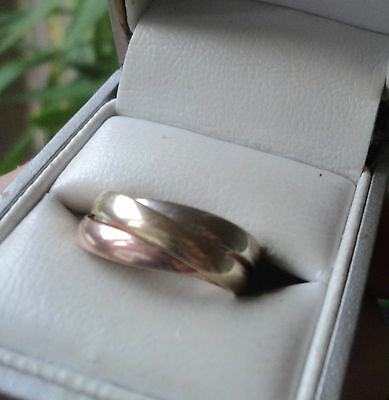 Vintage 9ct Rose Yellow White Gold Wedding Band Ring  -  Russian Style  - size M