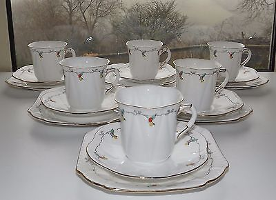 Shelley Bone China 11519 Coloured Berries Dainty Shape 6 Trios Cup Saucer Plate