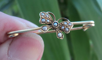 Vintage Attractive 9ct Gold & Seed Pearl Butterfly Insect Brooch  - 1931 Chester