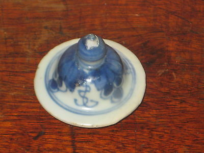 Antique Pottery Top Lid With Finial Blue & White Painted Design