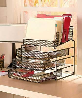 Black Mesh Desktop File Organizer W/Drawers Office Supply Storage Holder Desk