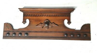 Antique Pediment Header Walnut Architectural Accent Piece