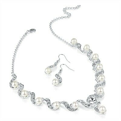 Silver Ivory Pearl & Crystal Wave Necklace and Earring Set Bridal Event Wedding