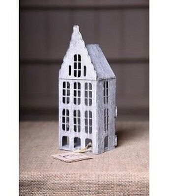 Grey metal house lantern, tea light or candle holders, shabby chic dutch house