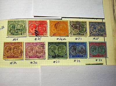 SAINT KITTS/NEVIS-USED-SCOTT#24 to #33+#26a-George5th part set-1/2p-2/-cv$125
