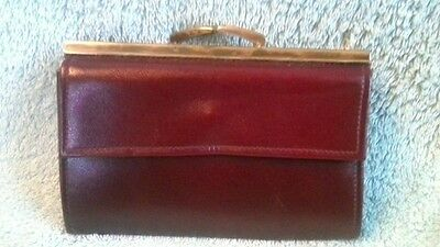 Vintage1960s Burgundy Real Calf Leather Coin Purse Wallet