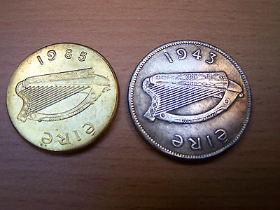 Read the Description 1985 and 1943 Irish Coins Rare Novelty Florin and 20p