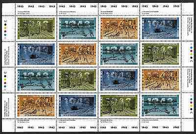 Canada —Full Pane of 16 —2nd World War -1943: Tide Begins to Turn #1503-06 —MNH