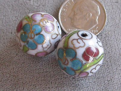 Pr Vintage Cloisonne Beads White Turquoise Pink Green 15mm